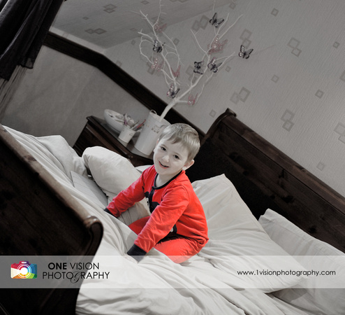 brides room, boy, playing, on, bed, son